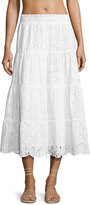 Tory Burch Broderie Anglaise Smocked Coverup Peasant Skirt, White