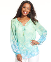 Charter Club Top, Three-Quarter-Sleeve Printed Ombre Peasant