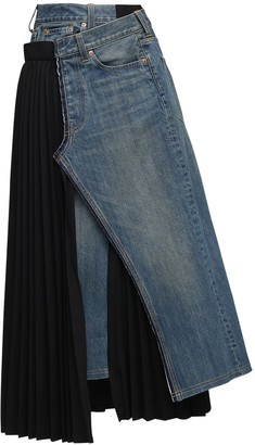 Junya Watanabe Denim & Pleated Wool Blend Skirt