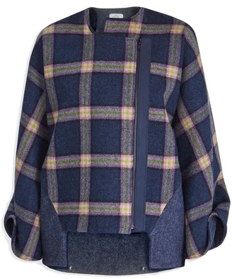 Cleo Prickett Bomber Coat In Heavy 100% British Wool With A Bold Neon Check