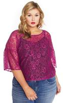 Addition Elle Rebel Wilson Lace Top with Lantern Sleeve