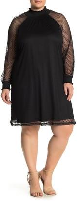 Nina Leonard Shirred Mock Neck Lace Trapeze Dress (Plus Size)