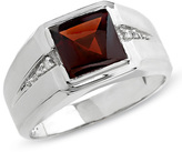 Zales Men's Square Garnet Ring in 10K White Gold with Diamond Accents