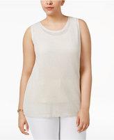 Calvin Klein Plus Size Metallic-Knit Shell