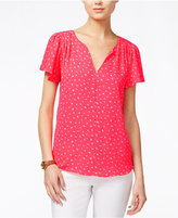Maison Jules Printed Flutter-Sleeve Top, Only at Macy's
