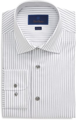 David Donahue Trim Fit Stripe Dress Shirt