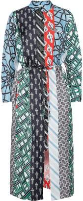 Carven Printed Silk-faille Midi Shirt Dress