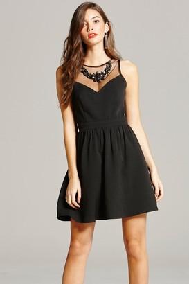 Little Mistress Black Embellished Neck Mini Dress