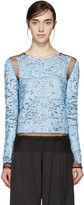 Emilio Pucci Blue Mesh and Sequin Plisse Pullover