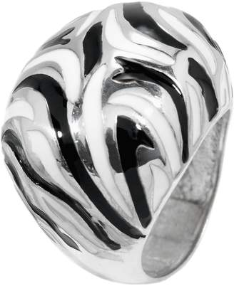 Monti Carlo Women's Domed Ring Rhodium-Plated 925 Sterling Silver Black White Lacquer Pattern JCM 102-129 17mm 0