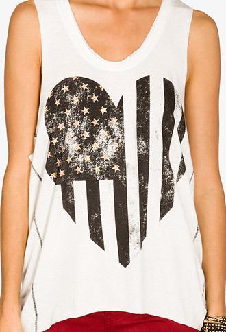 Forever 21 Heart Shaped American Flag Tank