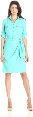 Jones New York Women's Faux Wrap Shirt Dress