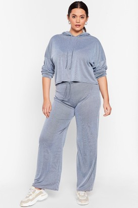 Nasty Gal Womens Hood Be Love Plus Wide-Leg Lounge Set - Blue - 16, Blue