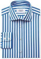 Charles Tyrwhitt Classic Fit Semi-Spread Collar Egyptian Cotton Stripe Royal Blue Dress Casual Shirt Single Cuff Size 15.5/35