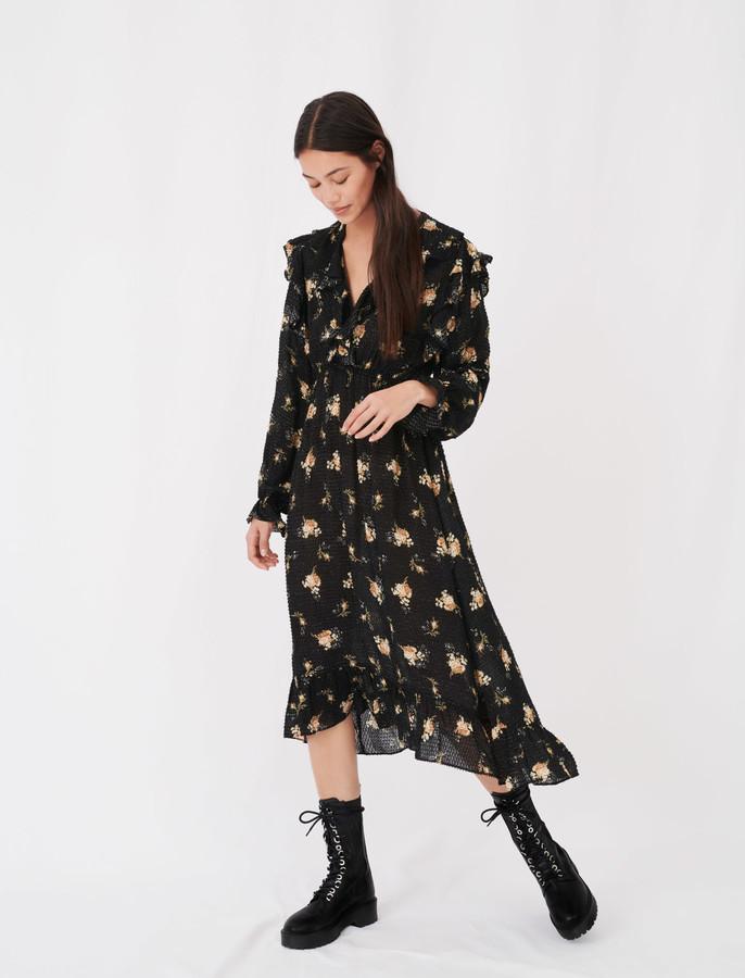 Maje Draped dress in printed crepe