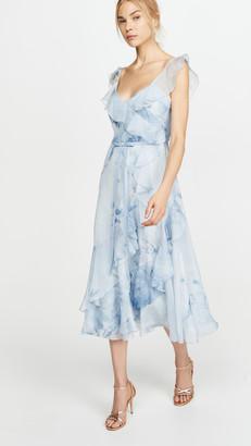 Marchesa Strapless V Neck Printed Chiffon Gown
