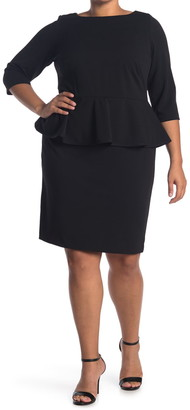 Calvin Klein Solid 3/4 Sleeve Peplum Sheath Dress