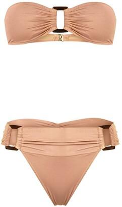 BRIGITTE Buckles Ruched Bikini Set
