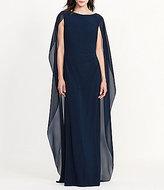 Lauren Ralph Lauren Round Neck Georgette Cape Jersey Gown