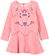 Baby Sara Pink Floral-Embroidery A-Line Dress