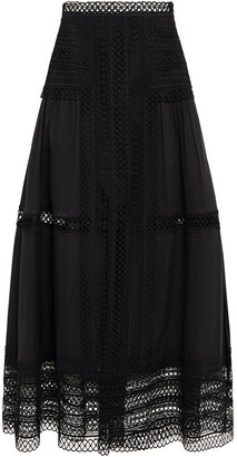 Charo Ruiz Ibiza Crocheted Lace And Cotton-blend Voile Midi Skirt
