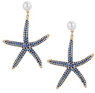 Eye Candy La Luxe Goldtone, Faux Pearl Crystal Starfish Drop Earrings