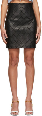 Balmain Black Leather Quilted Skirt