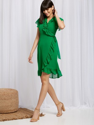 New York & Co. Ruffled Wrap Dress - Sweet Pea