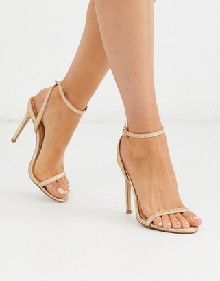 Lipsy crinkle barely there heeled shoe in gold