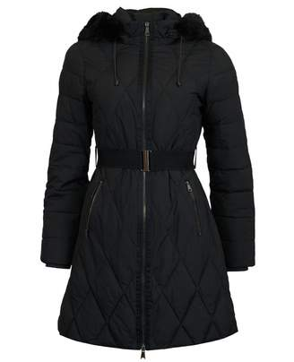 Ted Baker Long Belted Puffa Coat Colour: BLACK, Size: 8