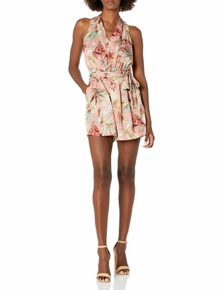 London Times Women's Paradise Palm Printed V Neck Jersey Romper