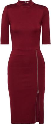 Alice + Olivia Inka Zip-detailed Satin-jersey Dress
