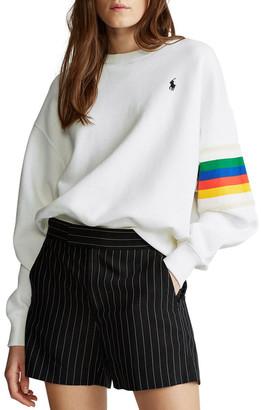 Polo Ralph Lauren Rainbow-Trim Fleece Sweatshirt