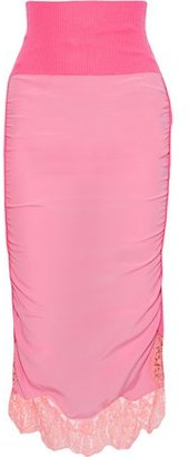 Stella McCartney Lace-trimmed Crepe De Chine-paneled Ribbed Wool Midi Skirt