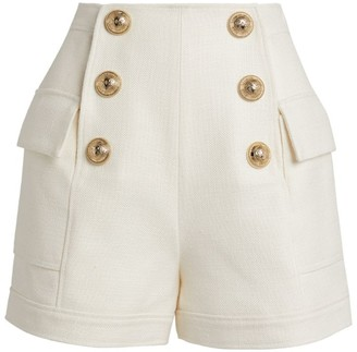 Balmain High Waist Button Shorts