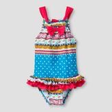 Floatimini Floatmini Girls' Blue Border Print One-Piece Swimsuit