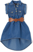 Dollhouse Medium Blue Wash Denim Sleeveless Dress - Infant, Toddler & Girls