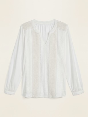 Old Navy Pintucked Split-Neck Lace-Trim Blouse for Women