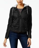 Celebrity Pink Juniors' Hooded Faux-Leather Jacket