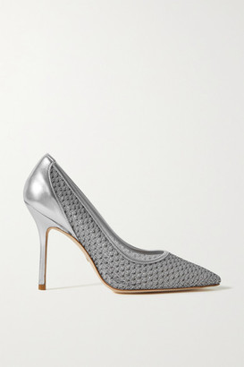 Stuart Weitzman Tasha Metallic Mesh And Leather Pumps - Silver