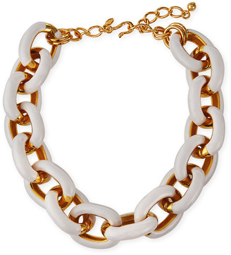 Kenneth Jay Lane Enamel Link Necklace, White