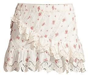 LoveShackFancy Women's Emma Ruffled Floral Skirt