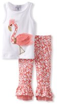 Mud Pie Baby-Girls Newborn Flamingo Top and Pants Set