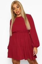 boohoo Plus Long Sleeved Tiered Woven Smock Dress