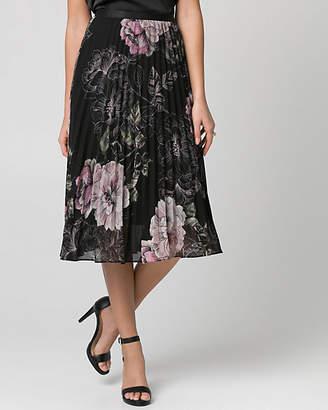 Le Château Floral Print Chiffon Pleated Skirt