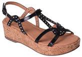 Corso Como Black Patent Sandi Cork-Wrapped Wedge Sandal
