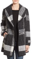 GUESS Women's Shawl Collar Plaid Coat