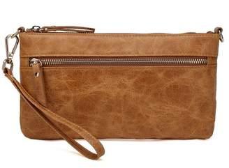 Vicenzo Leather Maci Distressed Leather Crossbody Clutch