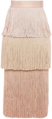 Herve Leger Fringed Degrade Bandage Midi Skirt