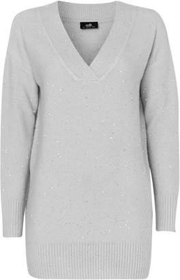 Wallis Grey Sequin V-Neck Jumper